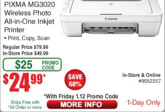 Canon Pixma MG3020 AIO Color Printer $25AC@Frys