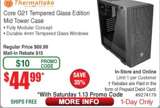 Thermaltake Core G21 ATX Dual 4mm Tempered Glass Computer Case $45AR @Frys (1/13)