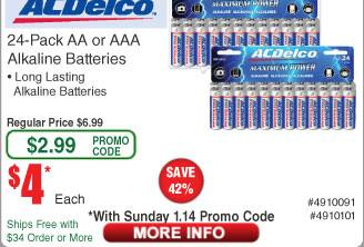 24-Ct AA or AAA AC Delco Alkaline Batteries $4AC @Frys (starts 1/14)