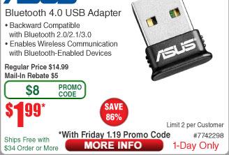 Asus USB-BT400 Bluetooth 4.0 USB Adapter $2AR @Frys (1/19)