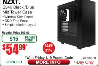 NZXT S340 Matte Black/Blue Steel ATX Mid Tower Case $55AC@Frys