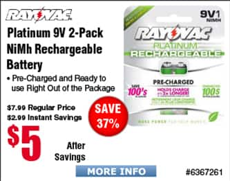 Rayovac 2-pk 9V NiMH Rechargeable $5 @Frys 4-pk AA $6;  Tenergy TN160 32-bay NiMH/NiCd Smart Charger $32