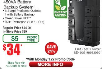 CyberPower SE450G 450VA 8-Outlet Battery Backup UPS $34AC@Frys