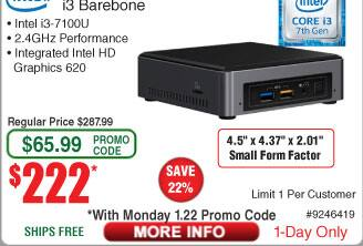 Intel 7th Generation NUC i3 Barebone NUC7i3BNH $222AC@Frys (pickup only)