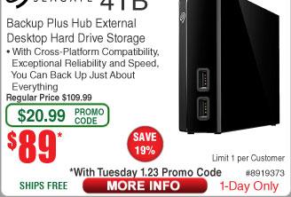 4TB Seagate Backup Plus Hub Hard Drive $89AC @Frys