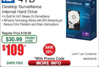 4TB Western Digital Purple Surveillance Hard Drive $109AC@Frys