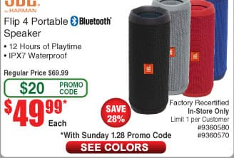 JBL Flip 4 Bluetooth Speaker *RFB* $50AC@Frys (1/28)