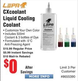 LEPA CXcoolant Color Liquid Coolant Free after $10 Rebate Patriot Fuel Ion Battery Pack 2100mAH and other Fuel Ion items FAR