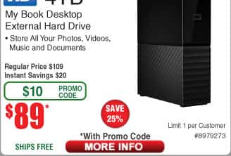 4TB WD My Book Desktop Hard Drive WDBBGB0040HBK-NESN $89AC @Frys