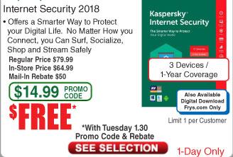 Kaspersky Internet Security 2018 3-Device / 1Yr Free after $50 Rebate @Frys