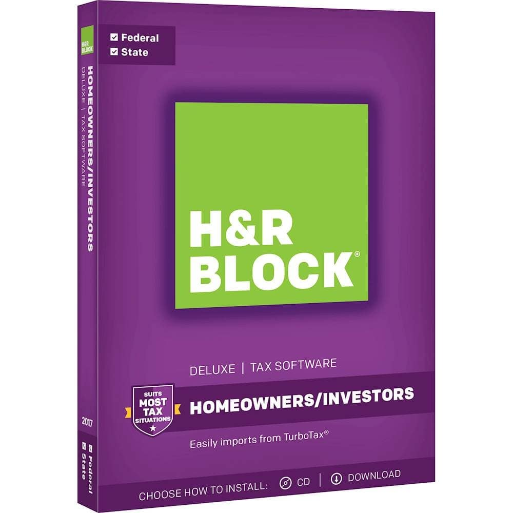 H&R Block Tax Software Deluxe 2017 with State - Mac|Windows (+$15GC) $30@BestBuy