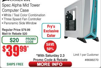 Corsair Spec Alpha Mid Tower Case $40AR@Frys