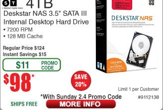 4TB HGST Deskstar NAS Hard Drive $98AC@Frys (starts 2/4)  250GB Samsung 860 EVO 3D NAND SSD $90AC