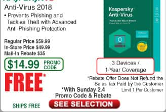 Kaspersky Anti-Virus 2018 3-Device /1Yr Free after $35 Rebate @Frys (starts 2/4)