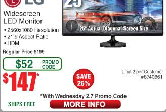 """LG 25UM58-P 25"""" UltraWide Full HD IPS 2560 x 1080 , 75 Hz LED Monitor $147AC@Frys (2/7)"""