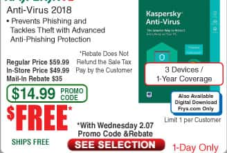 Kaspersky Anti-Virus 2018 3-Device /1Yr Free after $35 Rebate @Frys (starts 2/7)