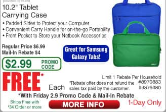 """Inland ProHT 10.2"""" Tablet Carrying Case Free after $4 Rebate"""