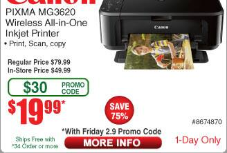 Canon PIXMA MG3620 Wireless AIO Inkjet Printer $20AC@Frys (2/9)