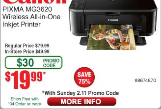 Canon Pixma MG3620 AIO Inkjet Printer $20AC @Frys (starts 2/11)