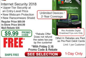 AVG Internet Security 2018 Unlimited/2Yr Free after $35 Rebate @Frys 8-ft Bytecc HDMI Cable $2 w/FS
