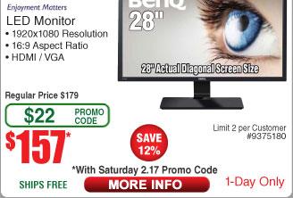 "28"" BenQ GC2870H FHD VA LED Monitor $157AC @Frys (2/20"