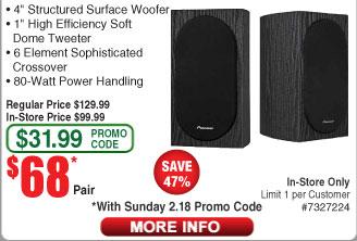 Pioneer SP-BS22-LR Andrew Jones Bookshelf Speakers $68/pr AC @Frys (starts 2/18) Klipsch R24F Floor-standing Speakers $124AC