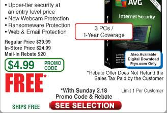 AVG Internet Security 2018 3-PC/1Yr Free after $20 Rebate @Frys (starts 2/18