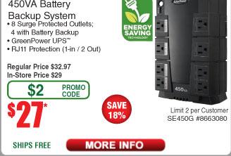 CyberPower SE450G 450VA 8-Outlet Battery Backup UPS $27AC @Frys (2/19)