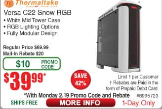 Thermaltake Versa C22 Snow ed RGB Mid Tower Case $40AR @Frys (2/19)