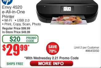 HP ENVY 4520 All-in-One Printer $30AC @Frys (2/21)
