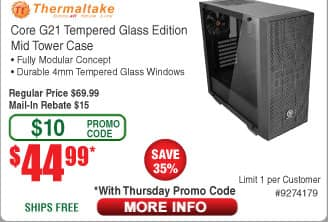 Thermaltake Core G21 Tempered Glass Edition Mid-Tower Chassis $45AR@Frys