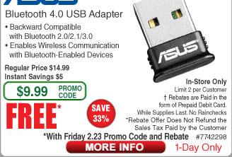 Asus USB-BT400 Bluetooth 4.0 USB Adapter Free after $5 Rebate  @Frys (2/23)