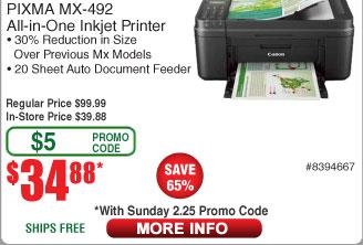 Canon Pixma MX492 Wireless All-In-One Color Printer $35AC @Frys (starts 2/25)