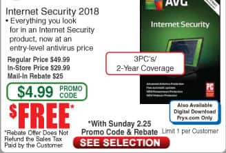 AVG Internet Security 2018 - 3 PCs / 2 Year Coverage (Boxed or DL) Free after $25 Rebate @Frys