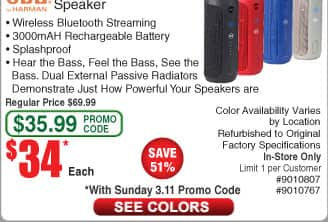 JBL Flip 3 Portable Bluetooth Speaker *RFB* $34AC @Frys (starts 3/11)