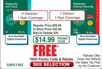 Kaspersky Anti-Virus 2018 3-Device /1Yr or Internet Security 1 Dev/1Yr Free after $35 Rebate @Frys ( 3/14)