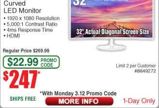 "32"" SAMSUNG 391 Series 1800R Glossy White 32"" Curved Widescreen Monitor $247AC @frys"