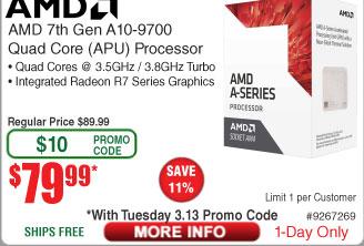 AMD A10-9700 AM4 APU $80AC@Frys (3/13)