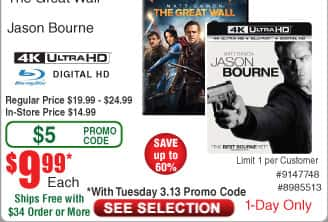 Jason Bourne or the Great Wall [4K UHD] [Blu-Ray] [Digital HD] $10AC@Frys