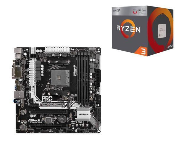 AMD RYZEN 3 2200G Quad-Core Processor and ASRock AB350M Pro4