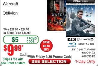 Warcraft 4K UHD BlurRay $10AC@Frys (3/30)