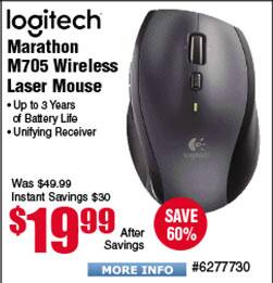 Logitech - Marathon Mouse M705 Wireless Laser Mouse $20 @Frys