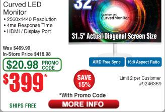 """32"""" Samsung LC32H711 Curved WQHD Freesync Monitor $399 AC@Frys (4/16)  Dell S2719DM 27"""" WQHD Gaming Monitor $388 AC"""