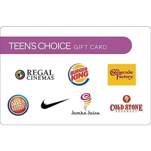 $50 Teen's Choice Gift Card $40@Staples