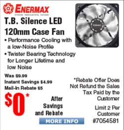 Enermax TB Silence LED 120mm Case Fan Free after $5 Rebate @Frys LiqMax TR4 360 Liquid Cooler $88 AR