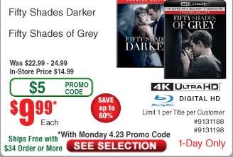 Fifty Shades Of Grey [4K UHD] [Blu-Ray] [Digital HD] or Fifty Shades Darker $10 @Frys