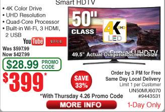 "50"" Samsung UN50MU6070 4K UHD Smart LED HDTV $399 AC @Frys"