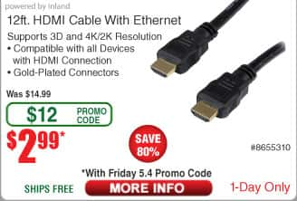 12-ft Inland ProHT HDMI Cable $3 AC w/FS@Frys