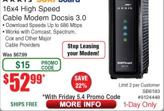 Arris Surfboard® 16x4 Docsis 3.0 Cable Modem SB6183 BLACK $53AC @Frys