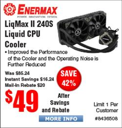 Enermax LiqMax II 240S Liquid Cooler $49AR @Fry's